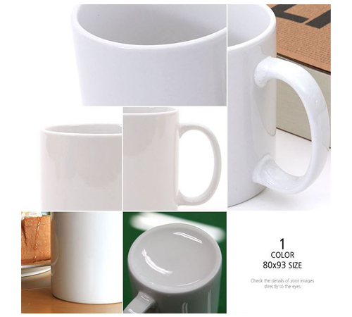직선 백자 도자기 뚜껑 머그컵 330ml (11온스)